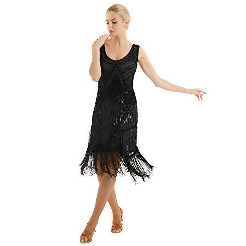 YOOJIA Femme Robe de Soirée Cocktail Robe Paillettes Robe Flapper Robe de Danse Latine Bal Vintage Robe Année 20 sans Manches Robe à Frangée/Pèlerine Noir 38