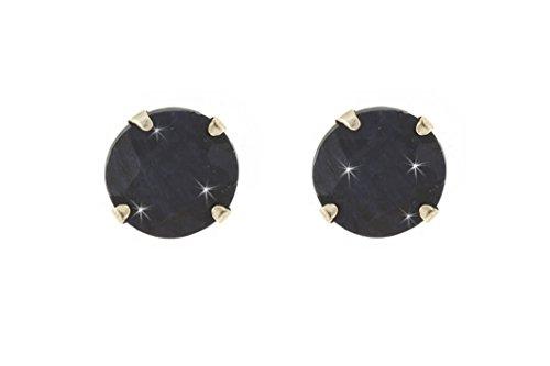 9ct gold 5mm CZ crystal birthstone stud earrings/Studs/Birthday/Giftbox[Black Sapphire (September)]