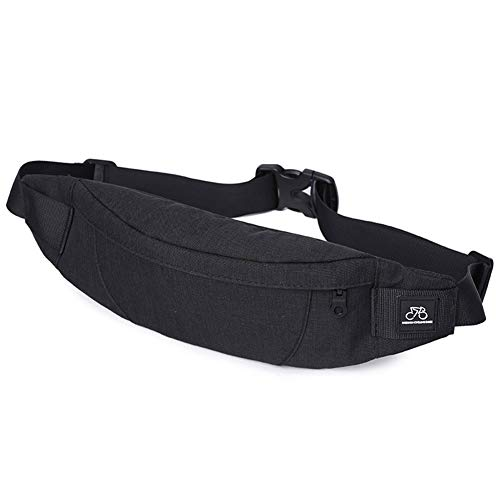 GoFar Fanny Pack, Slim Water Resistant Waist Bag Hip Purse for Men Women Outdoors Running Hiking Carrying Phone Money & Everyday Essentials (Black, Small)