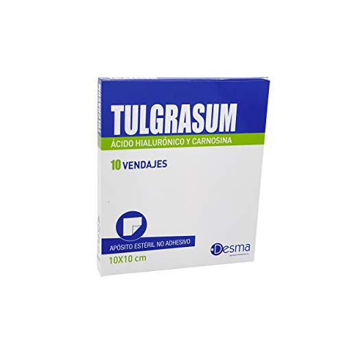 Desma | Apósito estéril cicatrizante Tulgrasum | Apósito para quemaduras y Heridas | No adhesivo | 10 Vendajes | 10 x10 cm