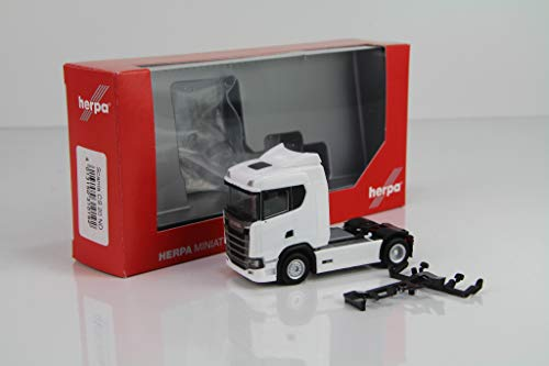 Herpa Scania CS 20 Low Roof Tractor, White. 1:87