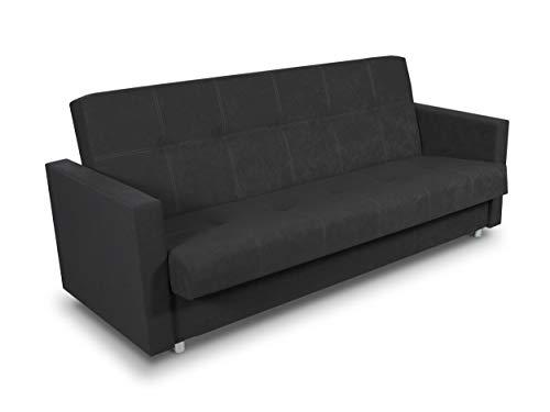 Schlafsofa Bettsofa Dave - Sofa mit Schlaffunktion und Bettkasten, Bett, Farbauswahl, Schlafcouch, Couch vom Hersteller, Couchgarnitur (Schwarz (Suedine 24))