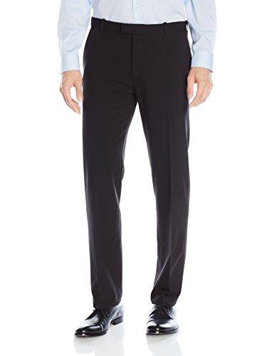Van Heusen Men's Flex Straight Fit Flat Front Pant, Black, 36W x 32L