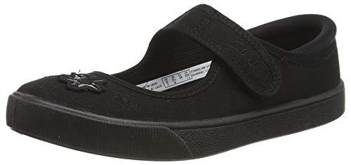 Clarks Mädchen Uniform-Schuh Slipper, Schwarz (Black Leather), 33 EU