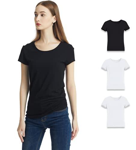 KELOYI Camisetas Mujer Verano Justada Manga Corta Negro Ropa Mujer Verano 2021 Basica Blusas Mujer Blanco Cuello Redondo Pack de 3 XL