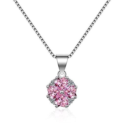 ShSnnwrl Collar Temperamento Atemporal Temperamento Moda Flores De Cristal Rosa Cereza Cadena De Clavícula Femenina Collar Temper
