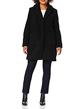 French Connection Women s 3/4 Faux Shearling Coat Black S