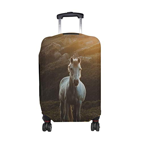Horse Grass Sunlight Pattern Print Travel Luggage Protector Baggage Suitcase Cover Fits 18-21 Inch Luggage