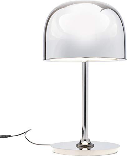 Kare Design Tischleuchte Big Band LED, Chrom Farbene Tischlampe, Schreibtischlampe mit rundem Schirm, moderne Leuchte, (H/B/T) 43x24x24cm
