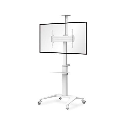 Conecto LM-FS02NW Pro - Soporte para televisor LCD LED Plasma móvil con Ruedas, Altura Regulable, Giratorio 37-70 Pulgadas, VESA 200 x 200-600 x 400 mm, Aluminio Blanco