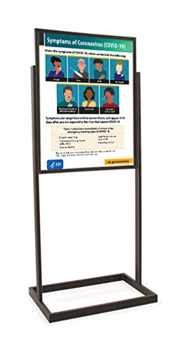 Coronavirus (Covid-19) CDC Workplace Signage -'Symptoms of Coronavirus (COVID-19) - Sign and Stand (Black)