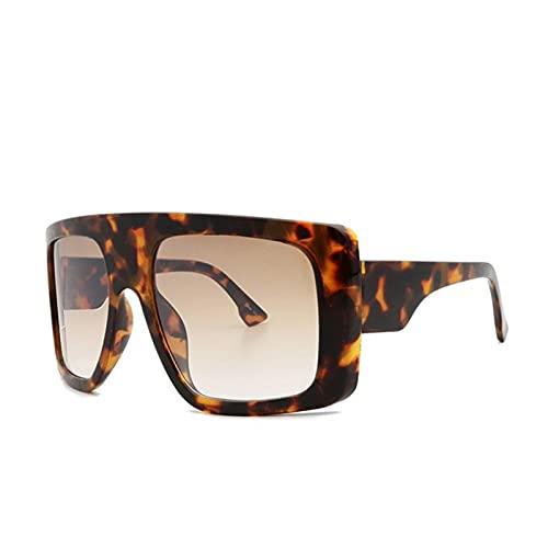 Celebridad Gran Escudo Cuadrado Square Gafas De Sol Mujeres Marca De Gran Tamaño Gafas De Sol Hombres Vintage Beige Shades Lady Windshield Oculos UV400 (Lenses Color : Leopard)