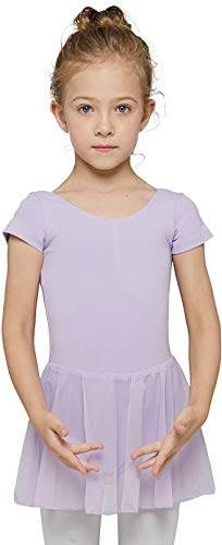 MdnMd Toddler Girls Dance Ballet Leotard with Tutu Skirt Outfit Dress (Lavender Purple, Age 4-6 / 4t,5t)