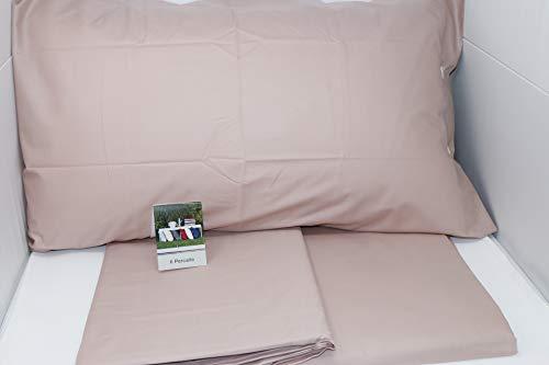 Fazzini Completo di Lenzuola matrimoniali in Puro Percalle di Cotone 80 Fili/cmq Art. Il Percalle (Rosa 240)