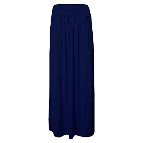 New Girl Fashions Femme Plissé Revers Taille Jersey Long Femmes Long Longueur Viscose Jupe Tzigane Tailles 36 38 40 42 - Bleu Marine, M/L (40-42)