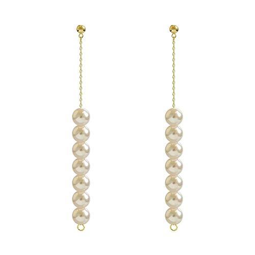 CHENYUXIA Pendientes Largos de Perlas con Flecos, Pendientes de Moda, Pendientes Aros Pendientes, Perlas, Todo fósforo, Simples, Conjunto Pendientes,