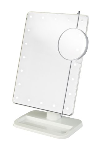"""Jerdon JS811W 8"""" By 11"""" Rectangular Led Lighted Vanity Mirror With 10x Magnification Spot Mirror, White Finish"""