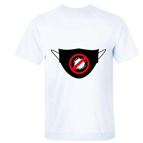 Rugby clothing boutique Q Covid-19 T-Shirt, rifiutare Covid-19, mettiamo su Un ma-SK e a Maniche Corte T-Shirt (Color : White, Size : S)