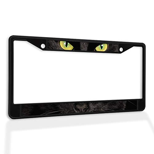 Fastasticdeals Metal Insert License Plate Frame Black Cat with Yellow Eyes Lover Weatherproof Car Accessories Black 2 Holes Solid Insert