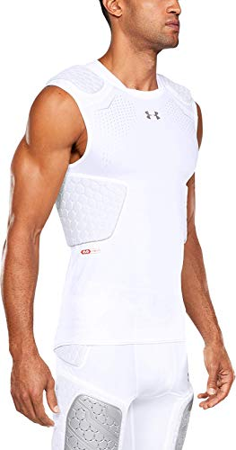 Under Armour Gameday Pro 5-Pad Football Compression Top, Football padded Top, Youth & Adult sizes, White, Adult - Large