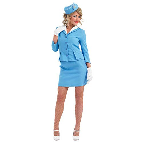 Fun Shack Blaues Stewardess Kostüm für Damen, sexy Flugbegleiterin Uniform - XL