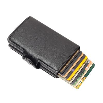 The Twin Men and Women ID and Credit Card Holder Wallet in Black Faux Leather Black Business Bank Card Case Card Card Card Card Holder RFID Blocking Protection