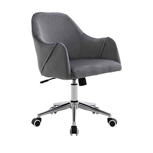 N/Z Daily Equipment Beauty Chair Barber Chair Executive PC Computer Velvet 360 deg;Swivel Height Adjustable Chair with Wheels and Tilt Function (Color : Gray)