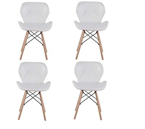 Set di 4 sedie da pranzo imbottite in poliuretano con poltrone a prua, robuste strutture in metallo, piedini in faggio e accessori per l'hardware, semplici sedie da salotto e ufficio (bianco)