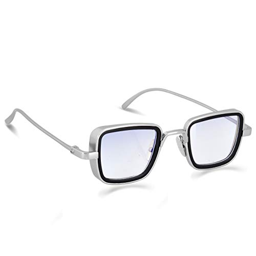 elegante Blue Light Blocking Blue Cut Zero Power anti-glare square glasses, Kabir Singh Frame Shape for Eye Protection from UV by Computer/Tablet/Laptop/Mobile (WithTorch and Testing Card) (Silver)