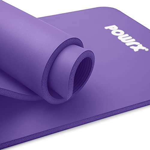 POWRX Gymnastikmatte I Yoga-Matte inkl. Trageband + Tasche + GRATIS Übungsposter I Hautfreundliche Sportmatte Fitnessmatte rutschfest Phthalatfrei 190 x 60, 80 oder 100 x 1.5 cm I versch. Farben Turnmatte für Zuhause (Lila, 190 x 60 x 1.5 cm)