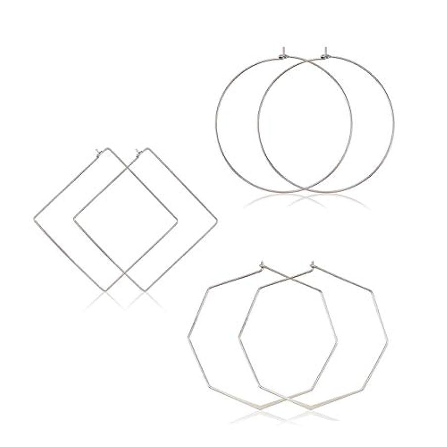 YAHPERN Square Hoop Earrings 3 Pairs Geometric Hoop Earrings Dangle Earring Set for Women Girls