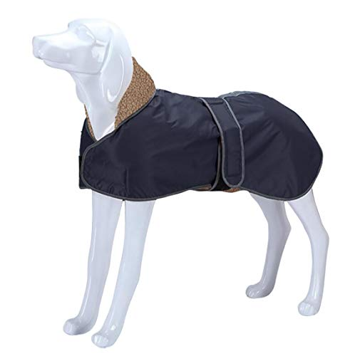 Morezi Abrigo de invierno para perro impermeable con forro polar grueso, ropa de perro para exteriores con bandas ajustables para galgo, Lurcher y Whippet – azul marino – XL