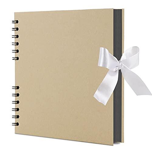 スクラップブック a4 アルバム 手作り 誕生日 フォトアルバム 黒台紙40枚80ページ DIYスクラップブッキング 大容量 プレゼント 写真収納 結婚式のフォトブック(2021ブラウン)
