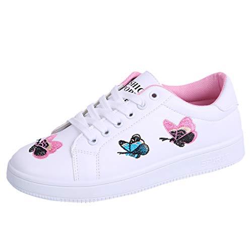 MRULIC Mädchen und Damen Flache Schuhe Schmetterling Gestickte Weiße Schuhe Schnür wasserdichte Schuhe Turnschuhe Sport Laufschuhe(Rosa,38 EU)