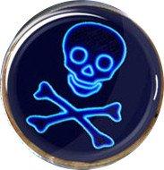Neon-Totenkopf mit Gekreuzter Knochen Cosplay Cufflinks Manschettenknöpfe (Blau)