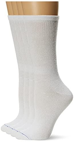 Dr. Scholl's Lot de 4 paires de chaussettes rondes pour femme diabète et circulatoire Blanc Taille de chaussure 36-40