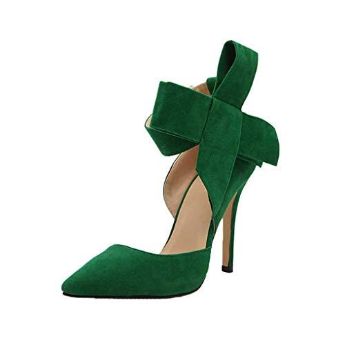 Dorical Damen Pumps Plateau Stiletto/Sommer Wildleder Sandaletten Moderne High Heels Sexy Party Hochzeit Schuhe Sandalen Mit einer großen Bogen Fliege(Grün,40 EU)