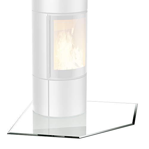 bijon® Funkenschutz-Platte + inkl. Silikon-Dichtlippe | Glasplatte Kaminofen mit Facettenschliff | Kaminschutz ESG Sicherheitsglas | mit Dichtlippe | Fünfeck 1150 x 1150 x 700 x 8mm