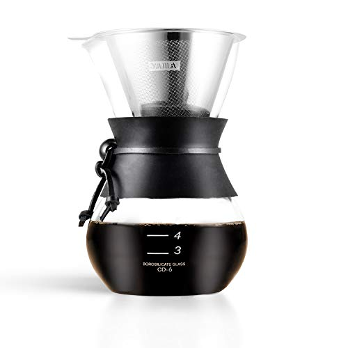 Yama Glass YAMCD6W YAMA DRIP Pot Cone Pour Over Coffee Maker with Reusable Stainless Filter, 30oz