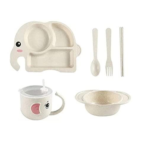 AOTEMAN Kinder Teller Cartoon Muster Besteck Niedlich Teller Mittagessen Teller Frühstücksteller Kreative Piktogramm Teller Unabhängige Reisschüssel Set 6 Stück (Beige)