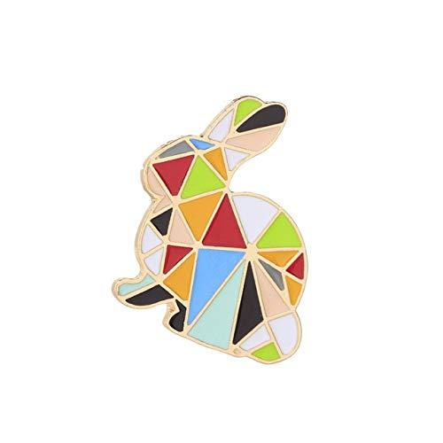 Geométrico Arco Iris Conejo Grúa Pines de esmalte Dibujos animados Origami Animales Broches Insignias Chaquetas Camisa Pin de solapa de metal Bolsa Accesorios-Conejo