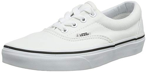 VANS Unisex Era Skate Shoes, Classic Low-Top Lace-up Style in Durable Double-Stitched Canvas and Original Waffle Outsole, True White, 14.5 Women/13 Men