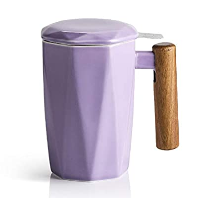 SWEEJAR Porcelain Tea Mug with Infuser and Lid, Wooden Handle, 17 Ounce, Geometric Shape Tea Cup for Steeping, Tea Lover, Gift, Home, Office (Purple)