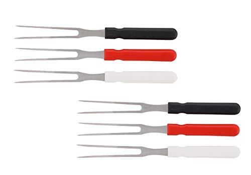 2 x 3er Set Aufschnittgabel/Fleischergabel / Käsegabel/Scheibengabel | Länge 25 cm