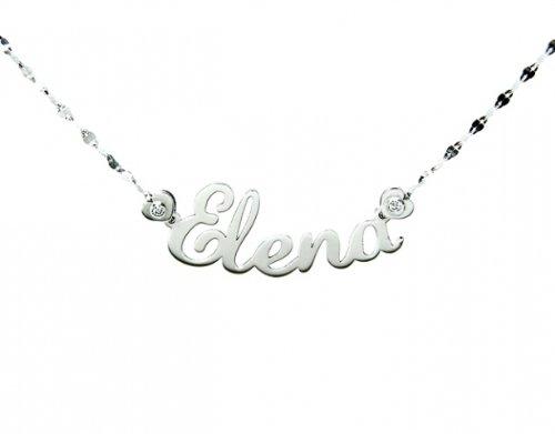 Collana con nome personalizzabile Roger Gems in oro bianco 18kt e 2 diamanti