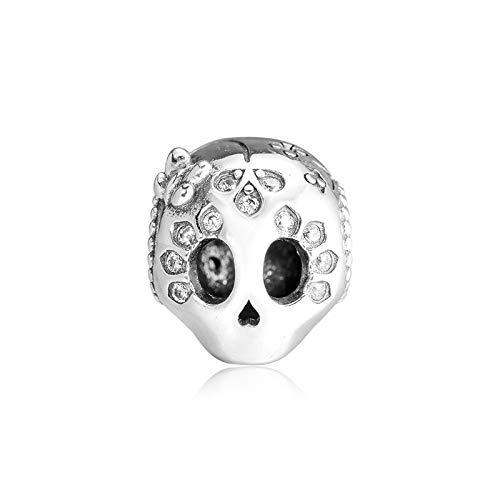 LISHOU DIY 925 Plata Esterlina Sparkling Evil Skull Clear Stones Crystal Snake Chain Charm Beads Se Ajustan A Pandora Pulsera Collar para Mujer Joyería Que Hace Regalo