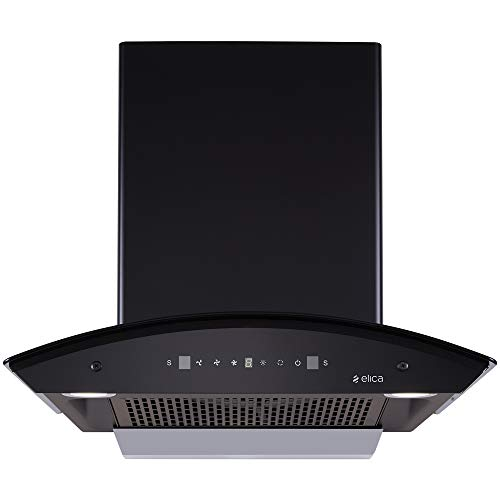 Elica 60 cm 1200 m3/hr Filterless Auto Clean Chimney with Free Installation Kit (TBFL HAC TOUCH 60 MS, Touch + Motion Sensor Control, Black)
