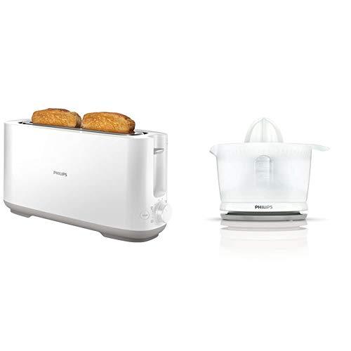 Philips viva collection tostadora, 950 w, plástico, blanco/plateado & daily hr2738/00 - exprimidor, color blanco