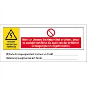 Aufkleber Warnhinweis für eine PV-Anlage 6x14 cm