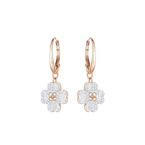 Swarovski Women's Latisha Hoops Pierced Earrings, Set of Crystal Flower Earrings with Rose-Gold Tone Plating, from the Swarovski Latisha Collection